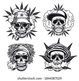 Rastaman skulls vector illustrations set. Collection of monochrome characters heads in panamas and cannabis leaves, smoking joint. Marijuana addiction concept for tattoos, emblems, badges templates