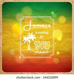 Rastaman vacation poster. Vector background