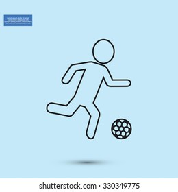 Raster version. Soccer, football players silhouettes icons