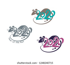 Rat 2020. Colorful painted symbols year of the Rat 2020 on the Chinese calendar. Vector template handwritten figures.