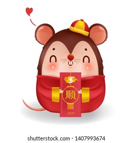 rat and Angpao. Zodiac mice of Animal lucks year 2020 of the rat.  Red envelope. Decorated with chinese gold-colored patterns. Cute traditional. Chinese New Year. Translation: Succeed.
