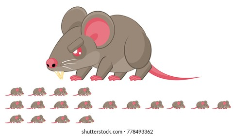 Rat animated game character for creating video games