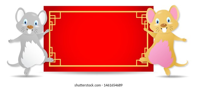Rat and badge.empty red rectangle paper.Chinese New Year Zodiac mice of Animal lucks year 2020 of the rat.Decorated with chinense gold patterns.objects for greetings card, flyers, invitation.