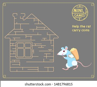 rat with a bag of money on his shoulders goes to the house. Help the rat through the house. Mini-game. Children's puzzle maze. Vector