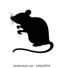 rat black isolated on white background, silhouette of a rat gray black, illustration rat for icon, clip art graphic rat