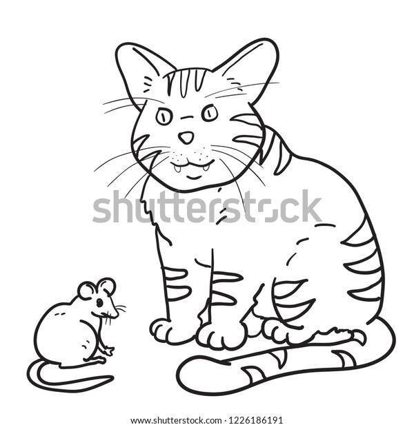 Rat Cat Cartoon Outline Drawn Stock Vector Royalty Free 1226186191
