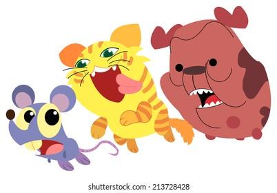 rat cat and dog Illustration cute fun