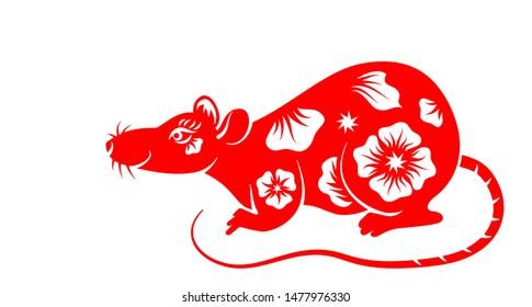 Rat, Chinese Zodiac Symbol New Year 2020. Ornament Animal Isolated