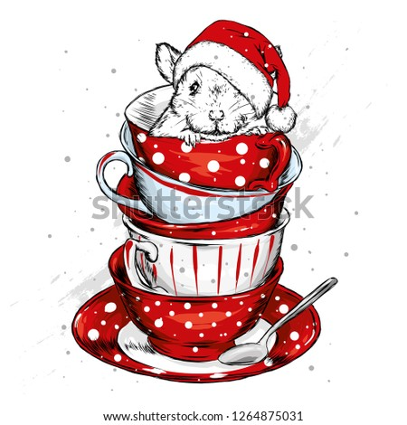 18fc583e2bf21 A rat in a Christmas hat is sitting in a vintage cup. Vector illustration  for