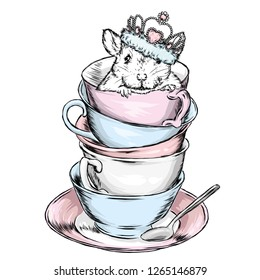 9539357716c73 The rat in the crown sits in a vintage cup. Vector illustration for  postcard or