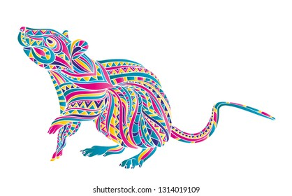 Rat drawn in the style of boho. Ornaments and patterns. Vector illustration for greeting card or poster, print for t-shirt.