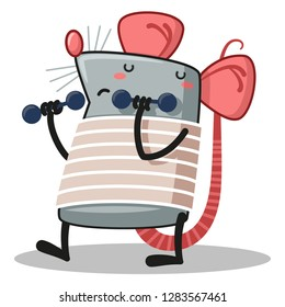 rat with dumbbells in hand