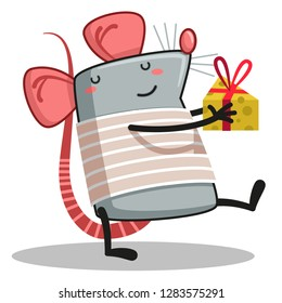 rat with a gift in hand