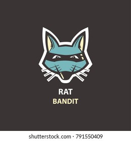 Rat head flat icon. Logo for your project. Vector illustration.