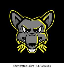 Rat Head Mascot Logo