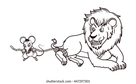 rat help lion in trap by bite the rope cartoon vector