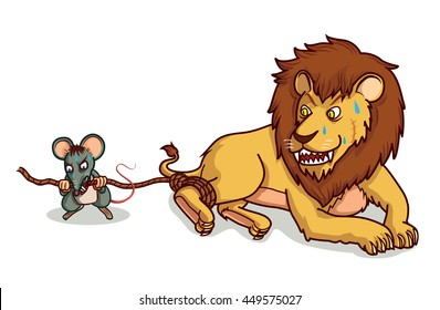 rat help lion from trap by bite cartoon vector