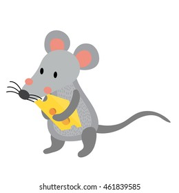 Rat holding cheese animal cartoon character isolated on white background.