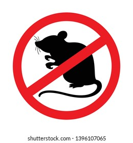 rat icon prohibited isolated on white background, black rat in the red warning sign, forbidden rat symbol, illustration rat for icon graphic