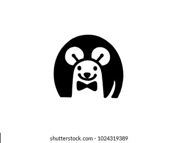 Rat logo black isolate on white background. Rat vector template concept illustration.
