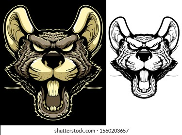 Rat Mascot. Angry Animal Head Vector Badge, Label, Sticker. Evil Rodent T Shirt Print. Ugly Furious Mouse Black Ink And Color Tattoo Design. Dangerous Wild Mammal Hand Drawn Illustration