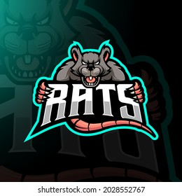 Rat mascot logo design vector with modern illustration concept style for badge, emblem and t shirt printing. Angry rats illustration for team, gaming and sports