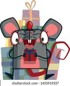 Rat or mouse with a gift. 2020 year of the rat symbol