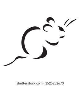 Rat mouse silhouette drawn by various lines of black color. Logo rodent mouse. Vector illustration
