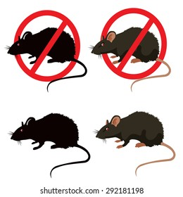 Rat or Mouse Warning Vector Signs. Isolated Rat Editable Under the Red Circle Vector Set.  House Mouse Vector Drawing Home Parasite.