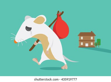Rat moving out of home. Rat crying. This illustration about keep rats away from House