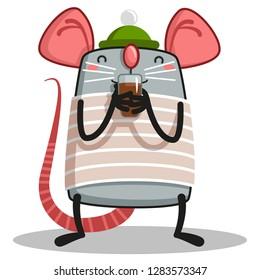 a rat with a mug of hot chocolate