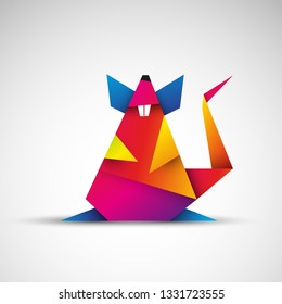 rat origami vector icon
