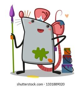 rat painter cartoon character - Illustration - Vector