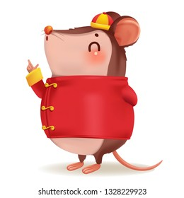 rat personality. side view. lovely mouse. Zodiac symbol of the year 2020. Chinese New Year, the year of the rat. It is pointing up the hand and smiling. Cheongsam dress Chinese style hat. Vector.