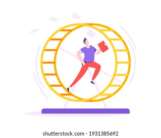 Rat race business concept with businessman running in hamster wheel working hard and always busy flat style design vector illustration. Tired workaholic in the loop routine trying to improve career.