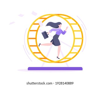Rat race business concept with businesswoman running in hamster wheel working hard and always busy flat style design vector illustration. Tired workaholic in the loop routine trying to improve career.