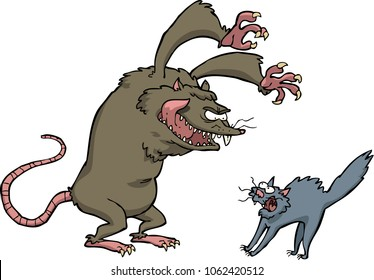 Rat scares the cat on a white background vector illustration