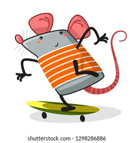 Rat and skate board .Cartoon - Vector
