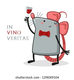 rat, sommelier in suite looking at red wine in glass, flat cartoon style, vector illustration - Vector