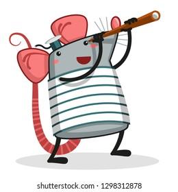 Rat with Spyglass - Vector