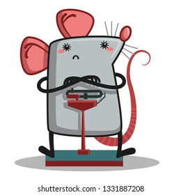 Rat standing on scales.