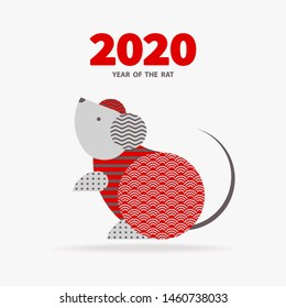 Rat is a symbol of the 2020 Chinese New Year. Holiday vector illustration of Zodiac Sign of rat decorated with geometric pattern. Greeting card in Oriental style with mouse, circle elements