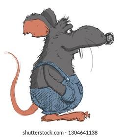 rat tramp vector illustration