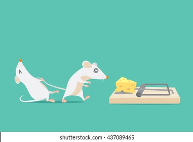 Rat try to stop friend to trapped because cheese. Ideal for illustration about business concept and consulting or other.