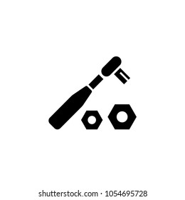Ratchet Wrench and Nuts. Flat Vector Icon. Simple black symbol on white background