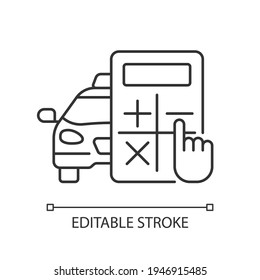 Rate estimator linear icon. Car and calculator. Estimation of the taxi fare. Fixed rate. Thin line customizable illustration. Contour symbol. Vector isolated outline drawing. Editable stroke
