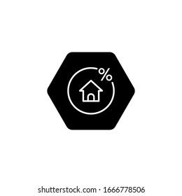 Rate for mortgage icon in line style on white background