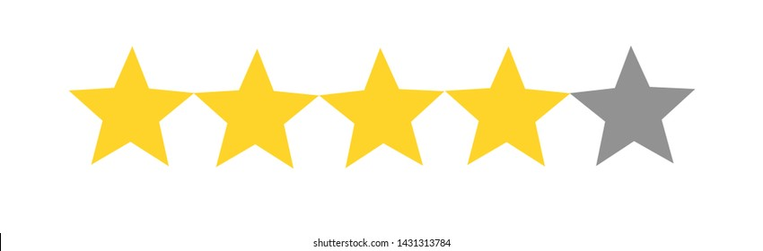 Rate us concept - 4 Star rating on white background, Customer product satisfaction review flat icon for apps and websites