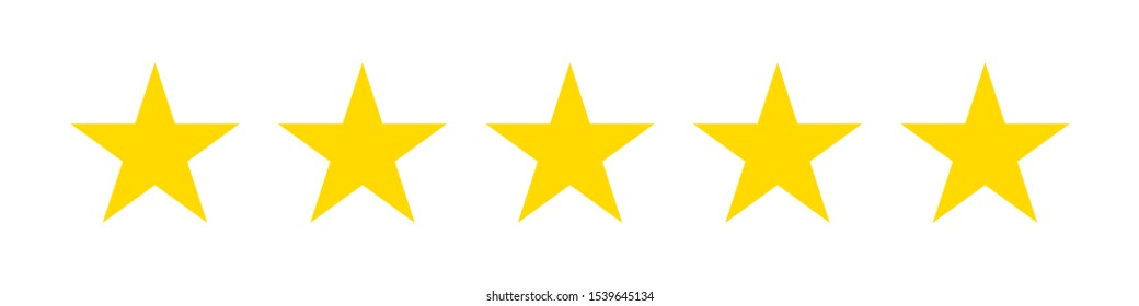 Rate us concept - 5 Star rating on white background, Customer product satisfaction review flat icon for apps and websites
