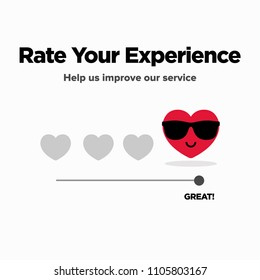 Rate Your Experience With Hearts For Feedback Form to improve Service